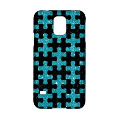 Puzzle1 Black Marble & Turquoise Glitter Samsung Galaxy S5 Hardshell Case  by trendistuff