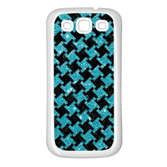 Houndstooth2 Black Marble & Turquoise Glitter Samsung Galaxy S3 Back Case (white) by trendistuff
