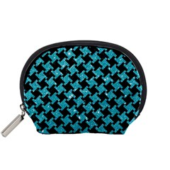 Houndstooth2 Black Marble & Turquoise Glitter Accessory Pouches (small)  by trendistuff