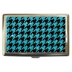 Houndstooth1 Black Marble & Turquoise Glitter Cigarette Money Cases by trendistuff