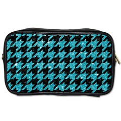 Houndstooth1 Black Marble & Turquoise Glitter Toiletries Bags 2 Side by trendistuff
