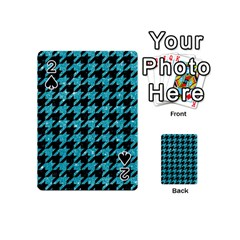 Houndstooth1 Black Marble & Turquoise Glitter Playing Cards 54 (mini)  by trendistuff