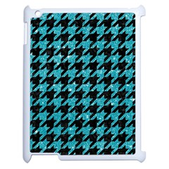 Houndstooth1 Black Marble & Turquoise Glitter Apple Ipad 2 Case (white) by trendistuff