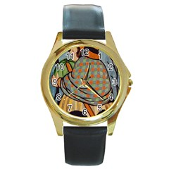 Witch 1462701 1920 Round Gold Metal Watch by vintage2030