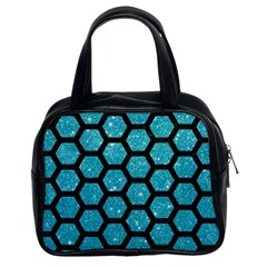 Hexagon2 Black Marble & Turquoise Glitter Classic Handbags (2 Sides) by trendistuff