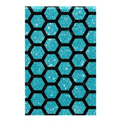 Hexagon2 Black Marble & Turquoise Glitter Shower Curtain 48  X 72  (small)  by trendistuff