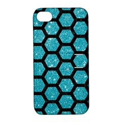 Hexagon2 Black Marble & Turquoise Glitter Apple Iphone 4/4s Hardshell Case With Stand by trendistuff