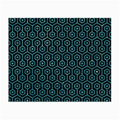Hexagon1 Black Marble & Turquoise Glitter (r) Small Glasses Cloth by trendistuff