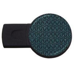Hexagon1 Black Marble & Turquoise Glitter (r) Usb Flash Drive Round (4 Gb) by trendistuff
