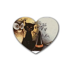 Owls 1461952 1920 Rubber Coaster (heart)  by vintage2030