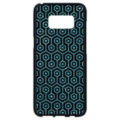 Hexagon1 Black Marble & Turquoise Glitter (r) Samsung Galaxy S8 Black Seamless Case by trendistuff