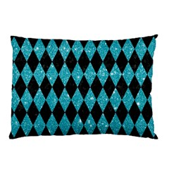 Diamond1 Black Marble & Turquoise Glitter Pillow Case by trendistuff