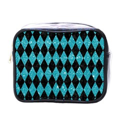 Diamond1 Black Marble & Turquoise Glitter Mini Toiletries Bags by trendistuff