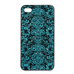 Damask2 Black Marble & Turquoise Glitter (r) Apple Iphone 4/4s Seamless Case (black) by trendistuff