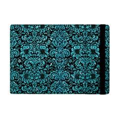 Damask2 Black Marble & Turquoise Glitter (r) Ipad Mini 2 Flip Cases