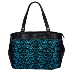 Damask2 Black Marble & Turquoise Glitter Office Handbags by trendistuff
