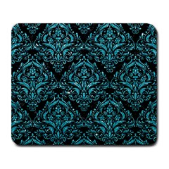 Damask1 Black Marble & Turquoise Glitter (r) Large Mousepads by trendistuff