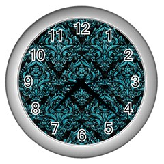 Damask1 Black Marble & Turquoise Glitter (r) Wall Clocks (silver)  by trendistuff