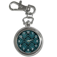 Damask1 Black Marble & Turquoise Glitter (r) Key Chain Watches by trendistuff