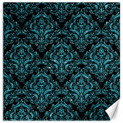 Damask1 Black Marble & Turquoise Glitter (r) Canvas 16  X 16   by trendistuff