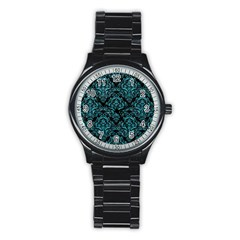 Damask1 Black Marble & Turquoise Glitter (r) Stainless Steel Round Watch by trendistuff