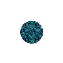 Damask1 Black Marble & Turquoise Glitter 1  Mini Buttons by trendistuff