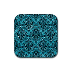 Damask1 Black Marble & Turquoise Glitter Rubber Square Coaster (4 Pack)  by trendistuff