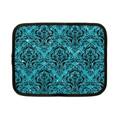 Damask1 Black Marble & Turquoise Glitter Netbook Case (small)  by trendistuff