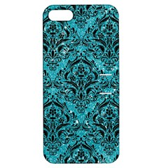 Damask1 Black Marble & Turquoise Glitter Apple Iphone 5 Hardshell Case With Stand by trendistuff