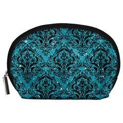 Damask1 Black Marble & Turquoise Glitter Accessory Pouches (large)  by trendistuff