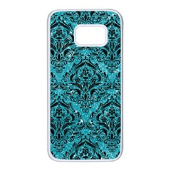 Damask1 Black Marble & Turquoise Glitter Samsung Galaxy S7 White Seamless Case by trendistuff