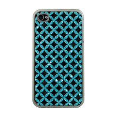 Circles3 Black Marble & Turquoise Glitter (r) Apple Iphone 4 Case (clear) by trendistuff