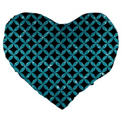 Circles3 Black Marble & Turquoise Glitter (r) Large 19  Premium Flano Heart Shape Cushions by trendistuff
