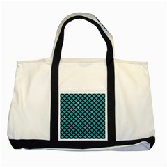 Circles3 Black Marble & Turquoise Glitter Two Tone Tote Bag by trendistuff