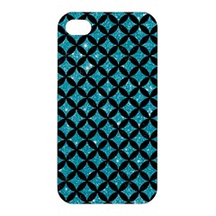 Circles3 Black Marble & Turquoise Glitter Apple Iphone 4/4s Hardshell Case by trendistuff