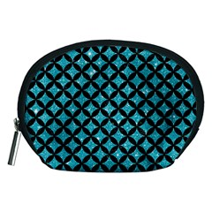 Circles3 Black Marble & Turquoise Glitter Accessory Pouches (medium)  by trendistuff