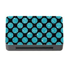Circles2 Black Marble & Turquoise Glitter (r) Memory Card Reader With Cf by trendistuff