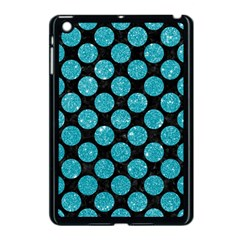 Circles2 Black Marble & Turquoise Glitter (r) Apple Ipad Mini Case (black) by trendistuff