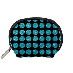 Circles1 Black Marble & Turquoise Glitter (r) Accessory Pouches (small)  by trendistuff