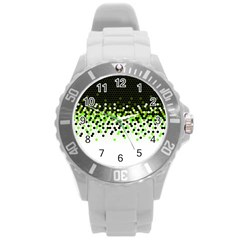 Flat Tech Camouflage Reverse Green Round Plastic Sport Watch (l) by jumpercat