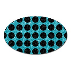 Circles1 Black Marble & Turquoise Glitter Oval Magnet by trendistuff
