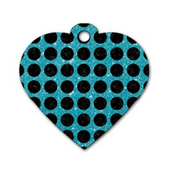Circles1 Black Marble & Turquoise Glitter Dog Tag Heart (one Side) by trendistuff