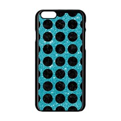Circles1 Black Marble & Turquoise Glitter Apple Iphone 6/6s Black Enamel Case by trendistuff