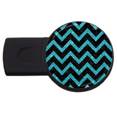 Chevron9 Black Marble & Turquoise Glitter (r) Usb Flash Drive Round (4 Gb) by trendistuff
