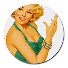 Woman 792872 1920 Round Mousepads by vintage2030