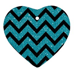 Chevron9 Black Marble & Turquoise Glitter Heart Ornament (two Sides) by trendistuff