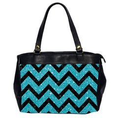 Chevron9 Black Marble & Turquoise Glitter Office Handbags (2 Sides)  by trendistuff
