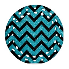 Chevron9 Black Marble & Turquoise Glitter Ornament (round Filigree) by trendistuff