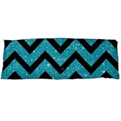 Chevron9 Black Marble & Turquoise Glitter Body Pillow Case (dakimakura) by trendistuff