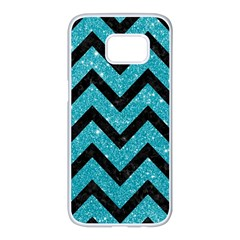 Chevron9 Black Marble & Turquoise Glitter Samsung Galaxy S7 Edge White Seamless Case by trendistuff